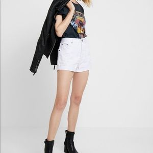 ONE TEASPOON Outlaws White Distressed Denim Shorts